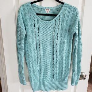 Aqua blue waffle knit sweater
